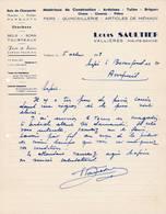 74  VALLIERES Haute Savoie  COURRIER 1948  Ardoises Tuiles Briques Louis SAULTIER  - A56 C/ RUMILLY - France