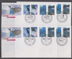 AAT 1996 Landscapes/Landforms 4v 4 FDC (Mawson, Macquarie Isl., Casey, Davis) (41044) - FDC