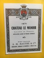 8967 - Château Le Manoir 1971 Lalande De Pomerol - Bordeaux