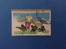 1992 TAILANDIA THAILAND FRANCOBOLLO USATO STAMP USED - PIANTE FIORI ORCHIDEA 10 - Tailandia