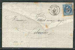 FRANCE 1867 N° 20 S/Lettre Obl. GC 2539 Morlaix - 1862 Napoleon III
