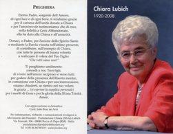Santino Depliant CHIARA LUBICH Movimento Dei Focolari (Opera Di Maria) - PERFETTO P82 - Religione & Esoterismo