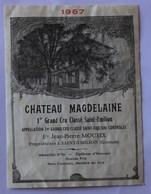 étiquette Ancienne Saint Emilion ,1967,  1er Grand Cru Classé, Chateau Magdelaine RARE - Bordeaux