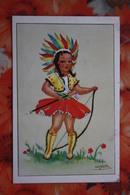 Little Indian Girl - OLD Belgium Postcard -1950s - ARCHERY - Archer - Tir à L'Arc