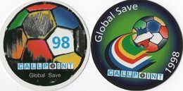 2 CARTES PREPAYEES CALL POINT Global Save 98 WORLD CUP 1998 FOOTBALL 1353 - France