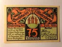 Allemagne Notgeld Wesenberg 75 Pfennig - [ 3] 1918-1933 : Weimar Republic