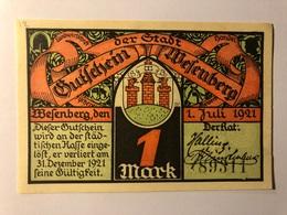 Allemagne Notgeld Wesenberg 1 Mark - [ 3] 1918-1933 : Weimar Republic