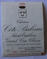 étiquette Ancienne Saint Emilion ,1978  Grand Cru Classé, Chateau Côte Baleau - Bordeaux