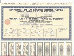 OBLIGATION EMPRUNT DE LA REGION RHONE-ALPES 1977 - 8 DEPARTEMENTS CONCERNES - Non Classés