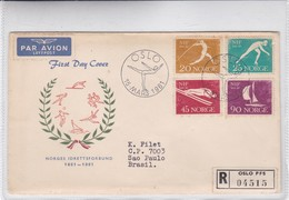 NORGES IDRETTSFORBUND. FDC 1961 OSLO. 4 COLOUR STAMPS. CIRCULEE - BLEUP - FDC