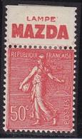 PUBLICITE: SEMEUSE LIGNEE 50C ROUGE LAMPE MAZDA HAUT  ACCP 376* - Advertising