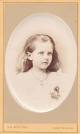 ANTIQUE CDV PHOTO -YOUNG GIRL. LONG HAIR . CHELTENHAM STUDIO - Photographs