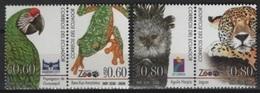 Ecuador (2006) Yv. 2017/20  / Eagle - Birds - Oiseaux - Vogel - Parrot - Jaguar - Felins - Wild Cats - Águilas & Aves De Presa