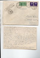 STORIA POSTALE TIMBRO DEL 1941 DI UNA  LETTERA PARTITA DALLA REGIA NAVE IL  SOMMERGIBILE ATROPO VERIFICATO X CENSURA - Poste & Facteurs