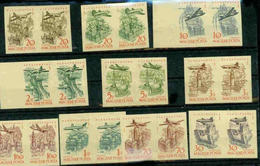 HUNGARY 1958 FF # C181-190 AIRPLANES IMPERF PAIRS STAMP DAY MNH S11845 - Airplanes