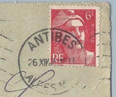N° 721 Marianne De Gandon Seul Sur Enveloppe De Antibes Vers Marseille 26/12/47 Ligne Blanche Bord Sup Du Timbre A Voir - Poststempel (Briefe)