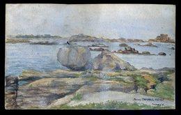 Aquarelle Originale Ploumanac'h Ploumanach Circa 1930 Par Jeanne Chaumeil Mativat M1 - Watercolours