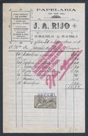 Fatura Da Papelaria J.A.Rijo De 1920. Fatura Com Carimbo De Recibo Com Selo Fiscal De $03. Raro. - Portugal