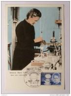 MARIE CURIE DANS LABORATOIRE - NOBEL PHYSIQUE - Carte Philatélique Avec Timbre Et Cachet 1er Jour PARIS - Prix Nobel