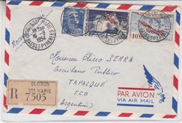 AIRMAIL ENVELOPE CIRCULEE 1954 FRANCE TO ARGENTINE, (TAPALQUE FCO) OBLITERE OLORON RECOMMANDE- BLEUP - Luftpost