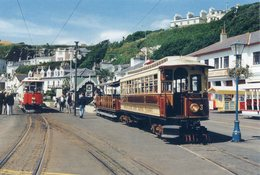ISLE OF MAN. Manx Electric Railway Tramcar No. 3 - Derby Castle Terminus, Douglas (train, Tren, Eisenbahn, Spoorweg) - Postales