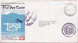 CENTENARY OF THE TIN CAN MAIL. FDC. OBLITERE TONGA 1992- BLEUP - Tonga (1970-...)