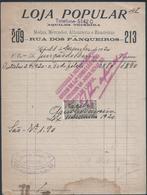 Loja Popular Da Rua Dos Fanqueiros, Lisboa, De 1920. Aquiles Teixeira. Imposto De Selo $03. Mercador.Alfaiataria. - Portugal