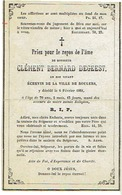 Doodsprentje DEGEEST Clément Bernard - Schepen ROESELARE En Er Overleden 1861 - Images Religieuses