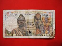AFRIQUE OCCIDENTALE. BILLET 5 FRANCS 1950. FRENCH WEST AFRICA BANKNOTE. - West African States