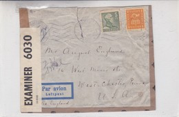 ENVELOPE CIRCULEE SVERIGE TO USA 1942 PAR AVION OPENED BY CENSOR- BLEUP - Lettres & Documents