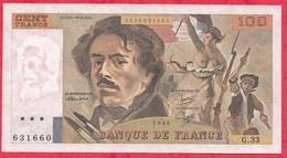 """100 Francs """"Delacroix"""" 1980 Série G.33 ---XF/SUP---AUCUN TROU D EPINGLE--PETITE COUPURE A 11H50 - 1962-1997 ''Francs''"""
