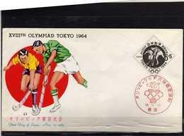A133-JAPAN 193 -OLYMPIC GAMES TOKIO 1964 -FDC HOCKEY FIELD COVER - Hockey (Veld)