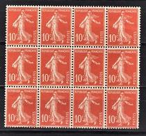 FRANCE 1903 / 1920 - BLOC DE 12 TP  / Y.T. N° 138  - SANS GOMME - France