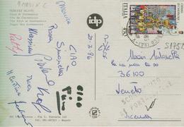 FOLCLORE CATANIA CANDELORE LIRE 450 ,S 1752, ISOLATO IN TARIFFA SU CARTOLINA,1986, POMPEI, SCAVI,ARCO DI GERMANICO - 6. 1946-.. Repubblica