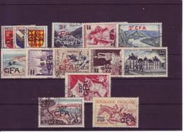 REUNION  SERIE SURCHARGE CFA  1953  N° 307 / 319 - Reunion Island (1852-1975)