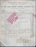 Tipografia Belenense De José Maria Borges Lousada. Fatura Emitida á Junção Do Bem Em 1920. Imposto De Selo $20 E $02. - Portugal