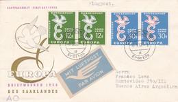 EUROPA BRIEFMARKEN DES SAALANDES STAMP A PAIR  2 COLOURS  PAR AVION OBLITERE SAARBRUCKEN 1958- BLEUP - [7] Federal Republic