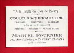 """"""" À LA PALETTE DU CLOS DE BOISSY """" . COULEURS - QUINCAILLERIE MARCEL FOURNIER . TAVERNY - Réf. N°19224 - - Cartes De Visite"""
