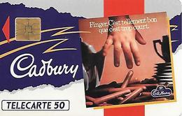 CARTE=-PRIVEE-50U-07/91-EN174-SO3-CADBURY-ROUGE-UTILISE-TBE - France