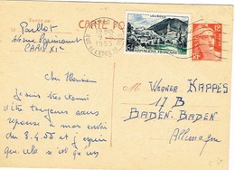France Entier Postal Stationery Pret A Poster Carte Postale Flamme Muette Paris V Rue Pyrenees Lourdes 1955 BE - Postwaardestukken