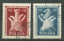 POLAND Oblitéré 845-846 Championnats D'échecs Des Sourds Et Muets échec Jeu Cheval Main Tour - 1944-.... République
