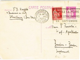 France Entier Postal Stationery Pret A Poster Carte Postale Flamme Visitez Foire Europeenne Septembre Place Gare Rhin BE - Standard Postcards & Stamped On Demand (before 1995)