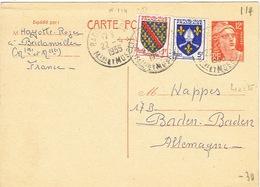 France Entier Postal Stationery Pret A Poster Carte Postale Cachet Leger Badamviller Marianne 1955 Us Courant 114 - Standard Postcards & Stamped On Demand (before 1995)