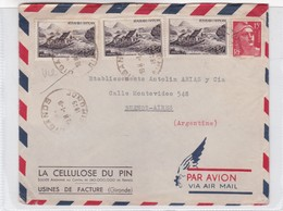 AIRMAIL CIRCULEE 1949 FRANCE TO ARGENTINE. LA CELLULOSE DU PIN OBLITERE GIRONDE, AUTRE MARQUES - BLEUP - Luftpost