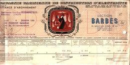 Quittance. Compagnie Parisienne De Distribution D'Electricité. Section Barbès. Paris 18°. 1938. - France