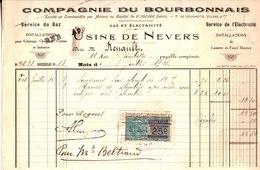Compagnie Du Bourbonnais. Usine De Nevers. Gaz Et Electricité. 1921. - France