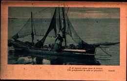 72848) CARTOLINA IMBARCAZIONE DI PESCATORI E SONETTO DI ALEARDI -VIAGGIATA - Pesca