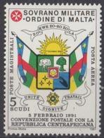 ORDRE DE MALTE - Convention Postale Avec La Centrafrique - Malte (Ordre De)