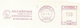 EMA METER STAMP CUT GERMANY BREMEN 1986 HAZARDOUS WASTE RIFIUTI PERICOLOSI SONDERMÜLL ECOLOGY - Umweltverschmutzung