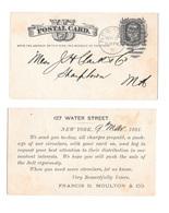 US Sc. UX5 1881 New York Duplex Cancel 27 In Elipse Francis D Moulton Salt Merchant - Postal History